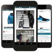 mobile phones displaying Brad's Deals app